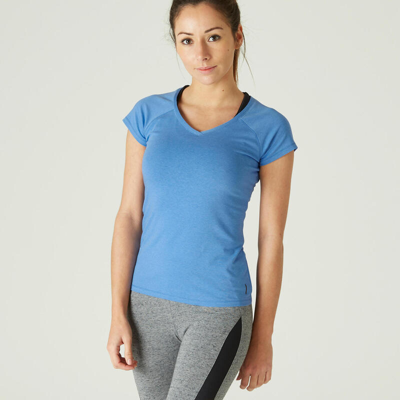 T-shirt fitness manches courtes slim coton extensible col en V femme bleu clair