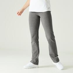 Legging voor fitness Fit+ katoen recht model grijs