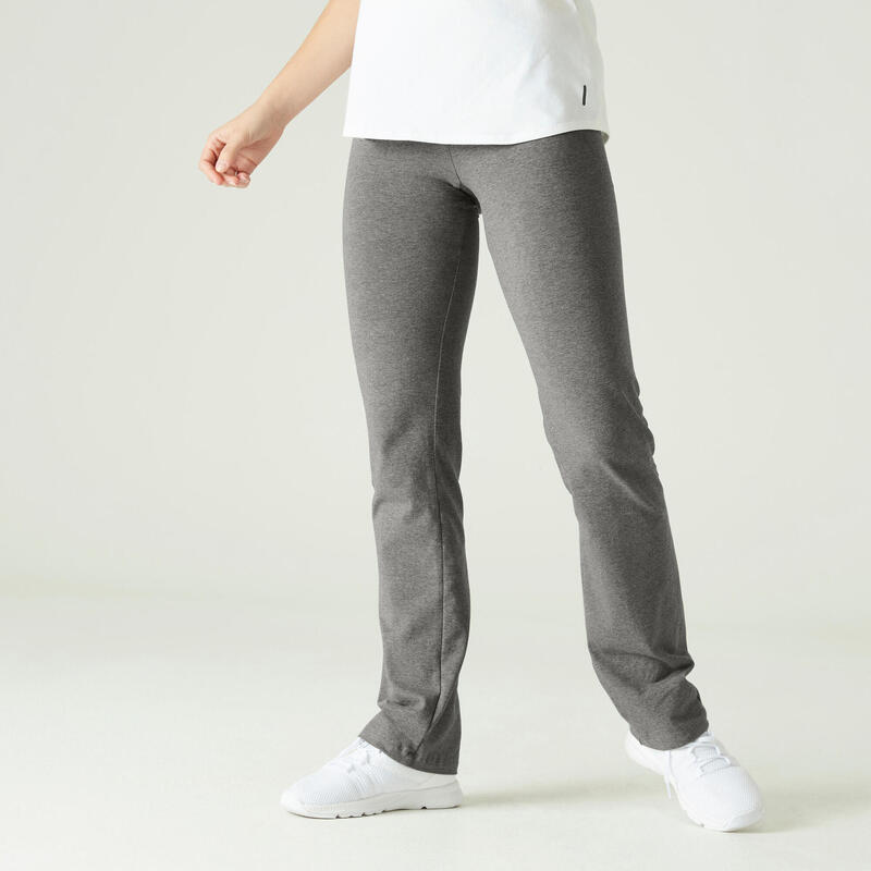 Legging Coton Fitness Fit+ Coupe droite Gris