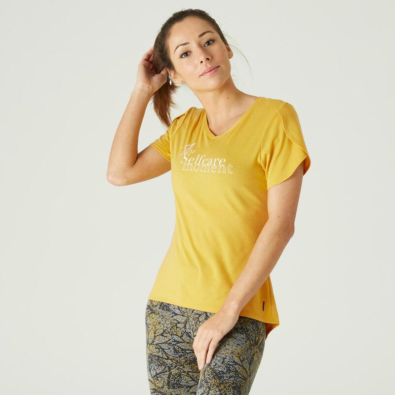 T-shirt fitness manches courtes couvrant coton extensible col en V femme miel