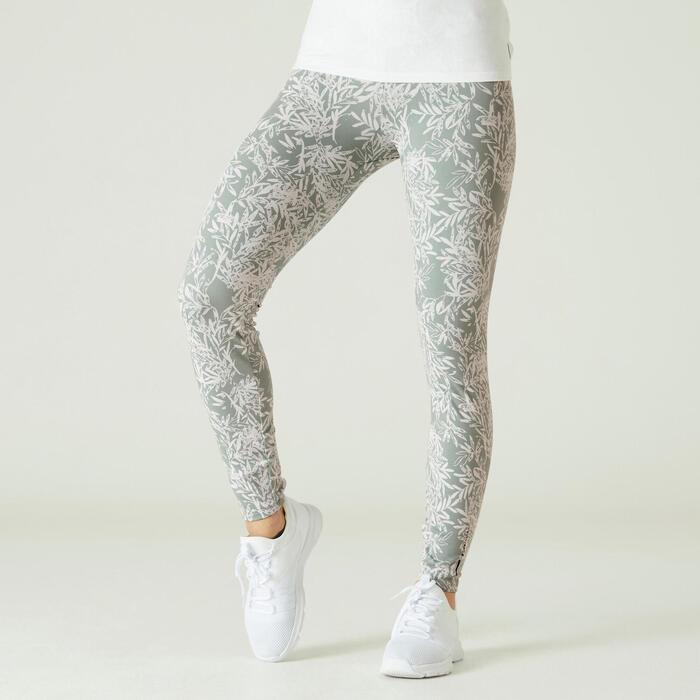 塑身棉質健身緊身褲 - 綠色印花