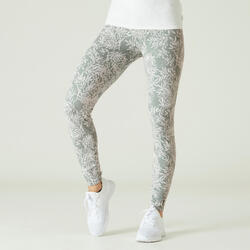 Fitness Shaping Cotton Leggings - Green Print