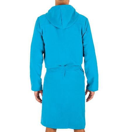 Men's Compact Microfibre Pool Bathrobe - Turquoise Blue