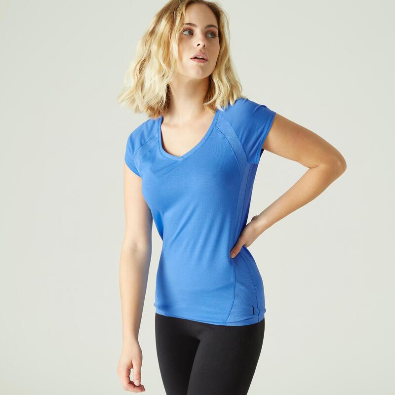T-shirt fitness manches courtes slim coton extensible col en V femme bleu