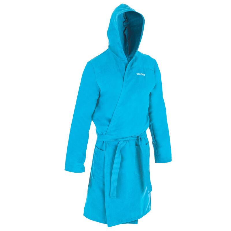 Compacte badjas voor heren microvezel turquoise