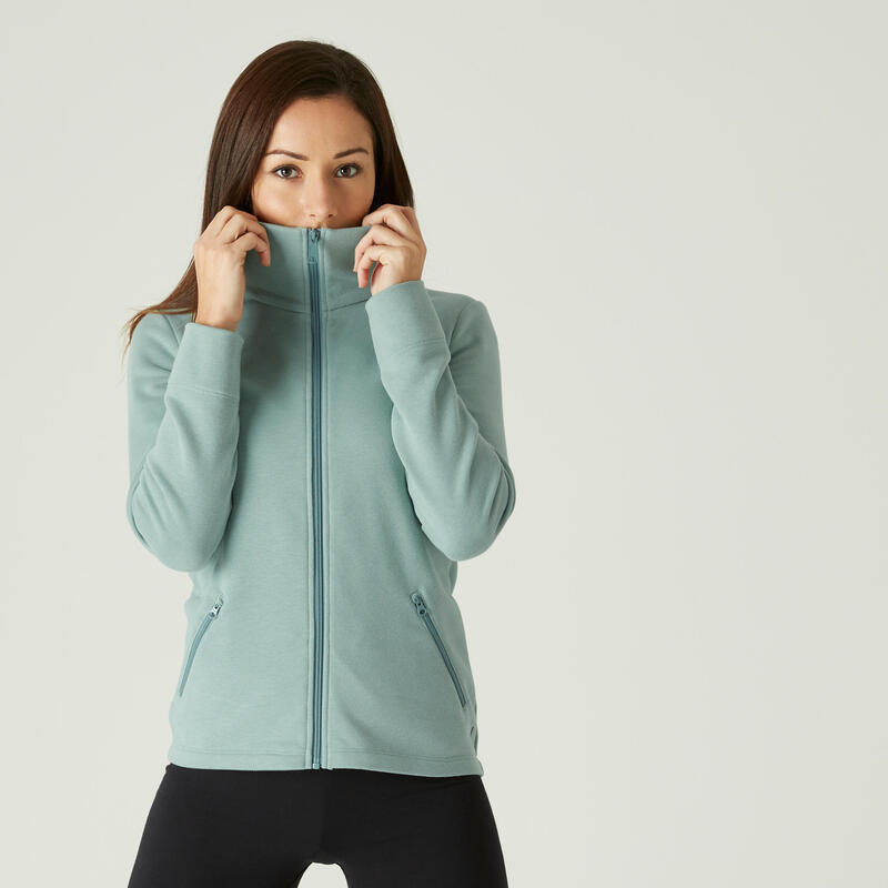 High Neck Zip Fitness Sweatshirt - Khaki