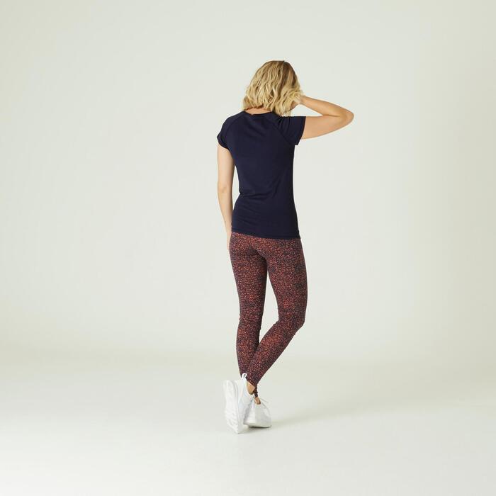 T-Shirt Coton Extensible Fitness Slim Bleu Marine