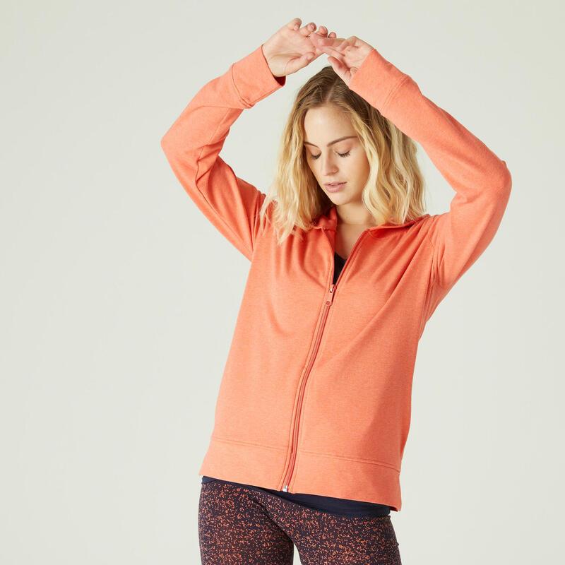 Hoodie met rits voor fitness oranje