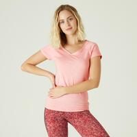 Playera algodón extensible Fitness Slim rosa