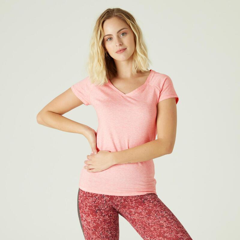 Camiseta Mujer Manga Corta Cuello Pico Algodón Extensible Fitness Slim Rosa