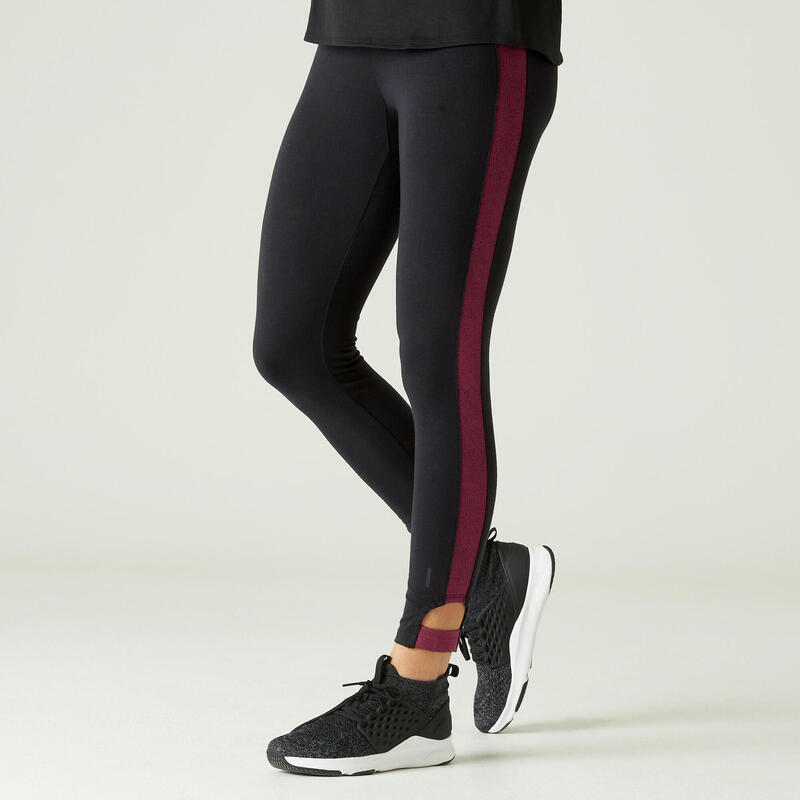 Legging 7/8 Coton Extensible Fitness court Noir et Bordeaux