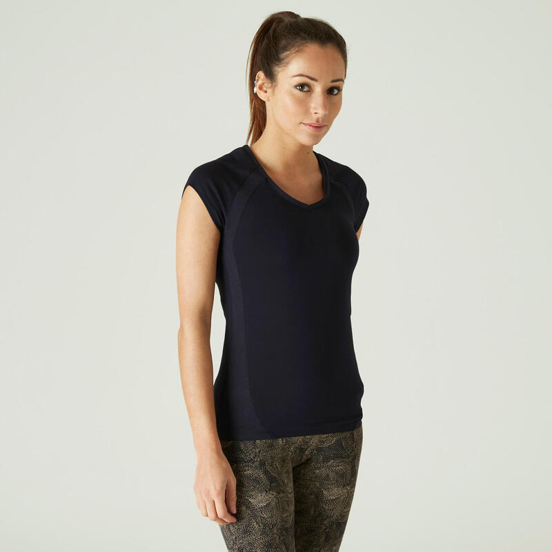 Slim-Fit Stretchy Cotton Fitness T-Shirt with Mesh - Black