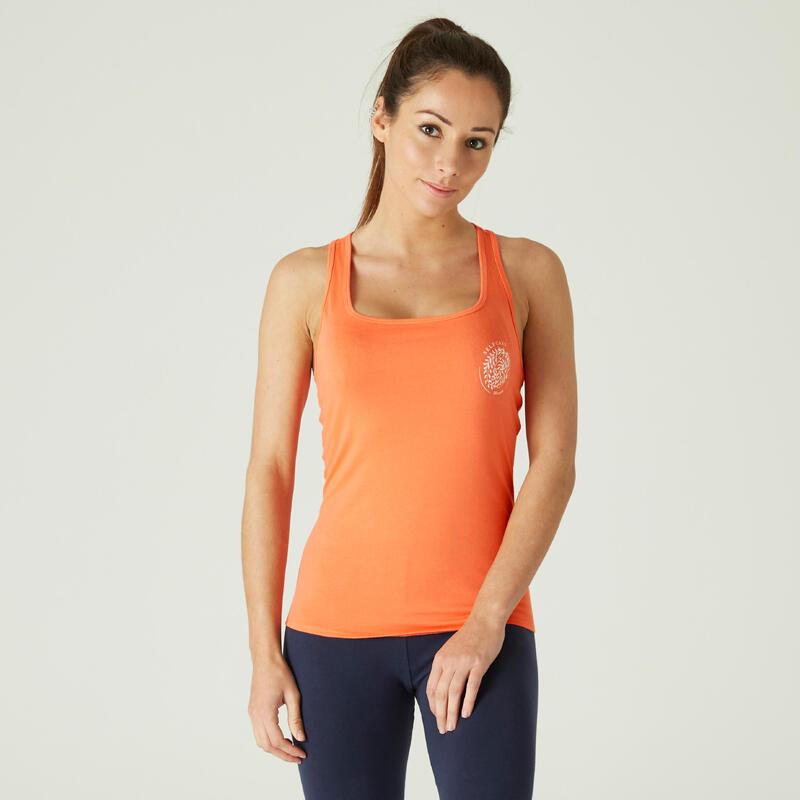 Débardeur Coton Extensible Fitness Orange avec Motif