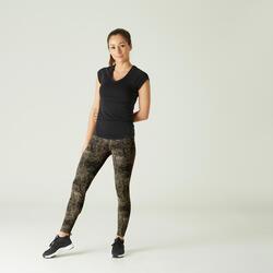 Shaping Cotton Fitness Leggings - Grey Print