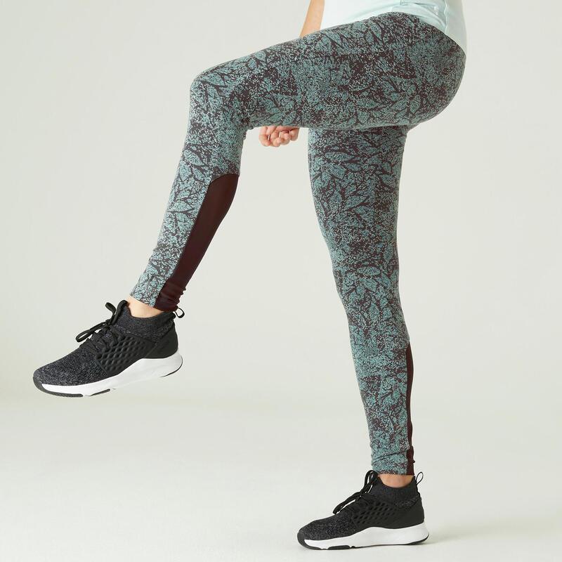 Stretch legging voor fitness katoen hoge taille met mesh groen met print