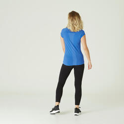 T-Shirt Coton Extensible Fitness Avec Mesh Slim Bleu