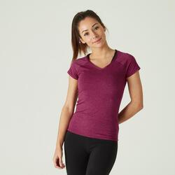 T-Shirt Fitness Baumwolle dehnbar Slim Damen violett
