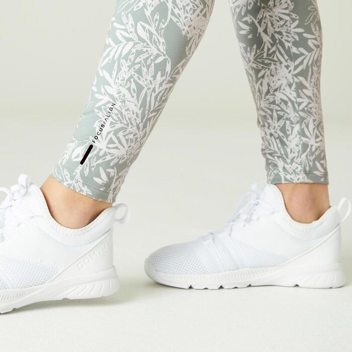 Fitness Shaping Cotton Leggings - Green Print