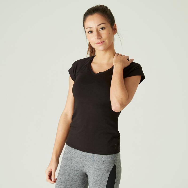 DÁMSKÁ TRIČKA, LEGÍNY, KRAŤASY Fitness - DÁMSKÉ TRIČKO 500 ČERNÉ NYAMBA - Fitness oblečení a boty