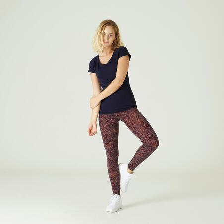 Playera algodón extensible Fitness slim azul marino