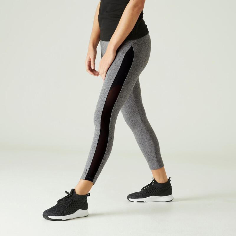 Legging 7/8 Coton Extensible Fitness court Gris