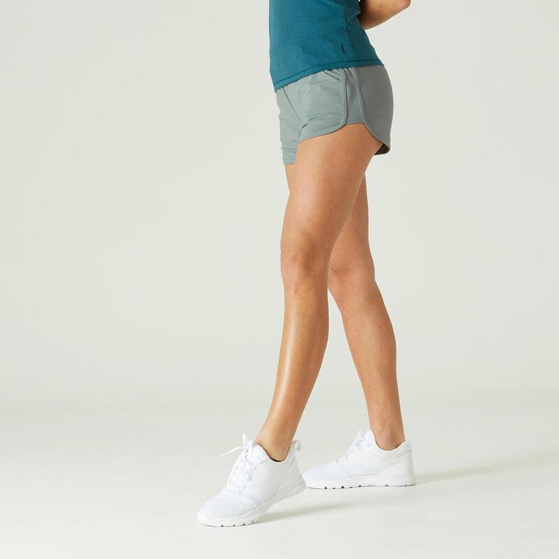 Short Coton Bio Fitness Avec Poches Coupe droite Kaki