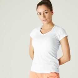 T-Shirt Fitness Baumwolle dehnbar Slim Damen weiss