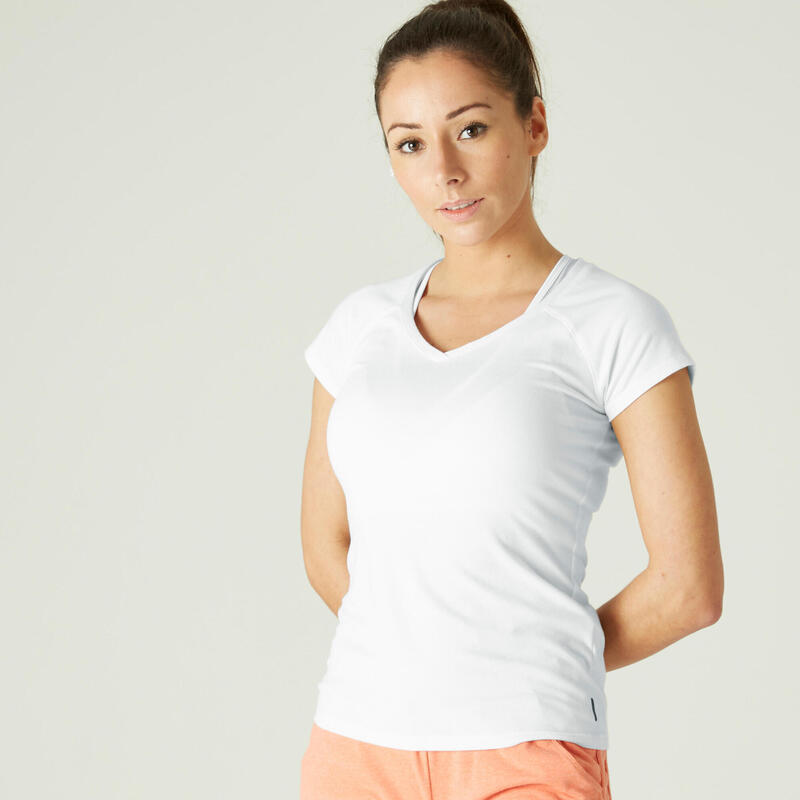Stretchy Slim-Fit Cotton Fitness T-Shirt - White