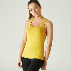 Top Fitness Algodão Extensível Amarelo Estampado