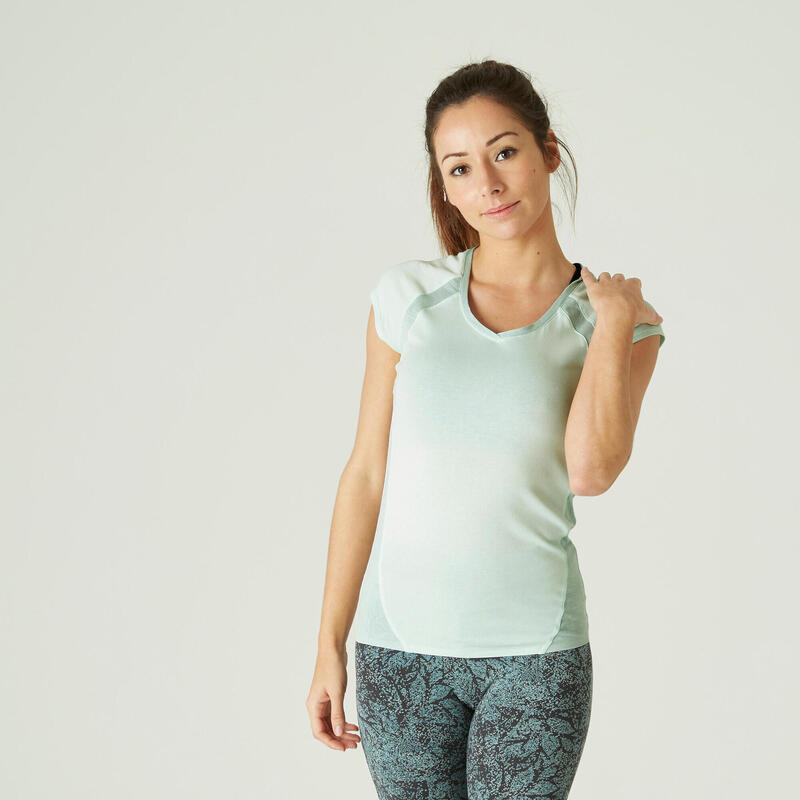 Stretchy Slim-Fit Cotton Fitness T-Shirt with Mesh - Green