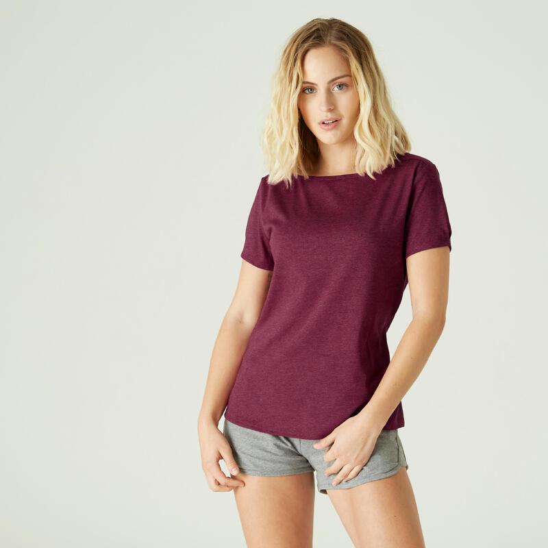 T-shirt fitness manches courtes slim coton extensible col bateau femme violet