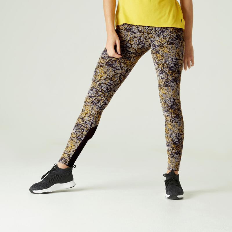 Stretch legging voor fitness katoen hoge taille met mesh geel met print