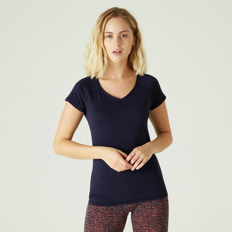 Camiseta Mujer Manga Corta Cuello Pico Algodón Extensible Fitness Slim Azul