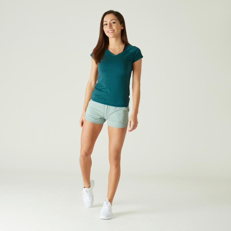 Camiseta Mujer Manga Corta Cuello Pico Algodón extensible Fitness Slim Turquesa