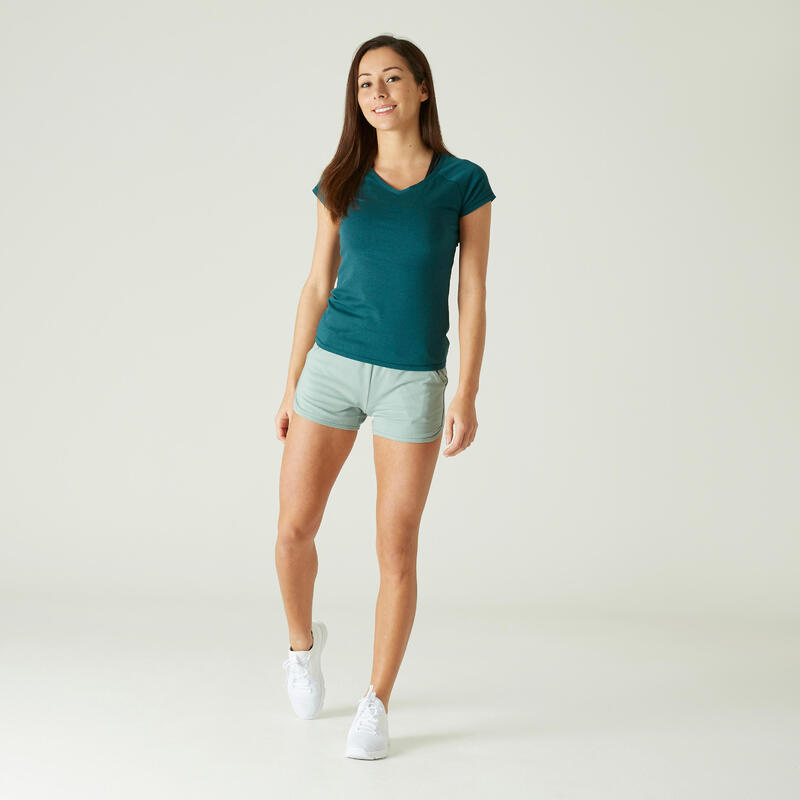 T-Shirt Coton Extensible Fitness Slim Turquoise
