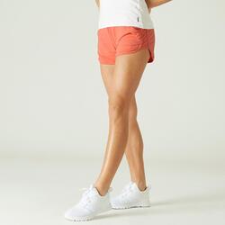 Calções Fitness Mulher Algodão Biológico com Bolsos Corte Direito Laranja