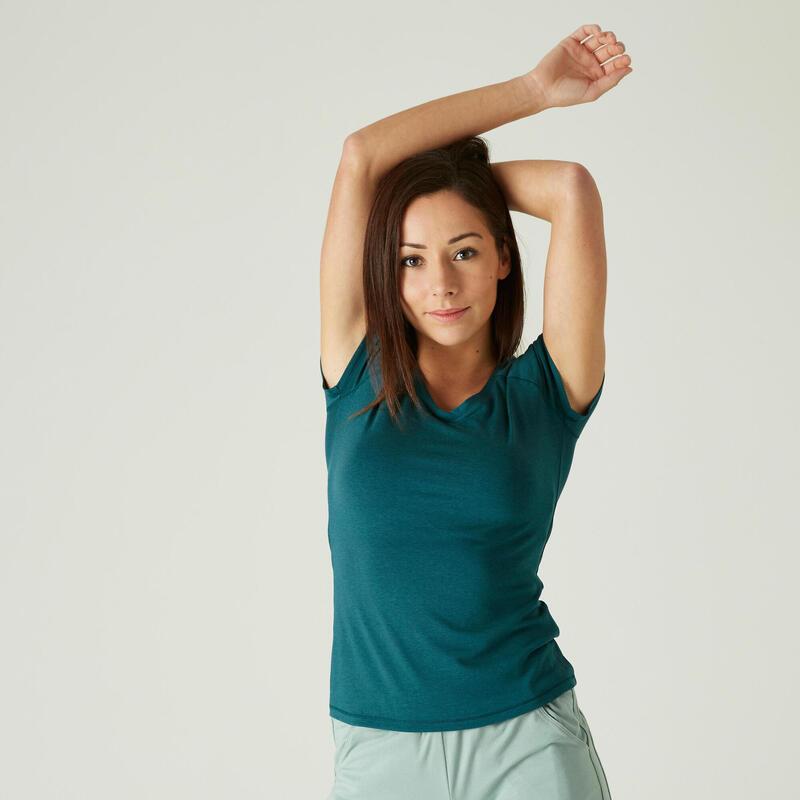 T-shirt fitness manches courtes slim coton extensible col en V femme turquoise