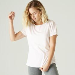 T-shirt de ginástica e pilates em Algodão Extensível com Gola Ampla
