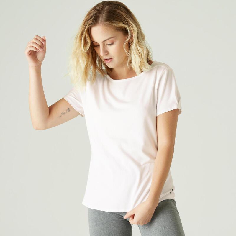 Camiseta Mujer Manga Corta Cuello Barco Algodón Extensible Fitness Blanco
