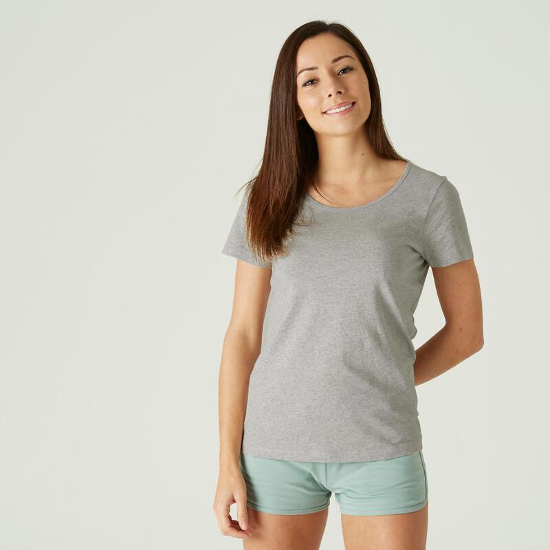 T-shirt voor fitness 100% katoen grijs