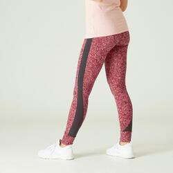 Legging fitness long coton extensible taille haute femme - rose vif avec imprimé