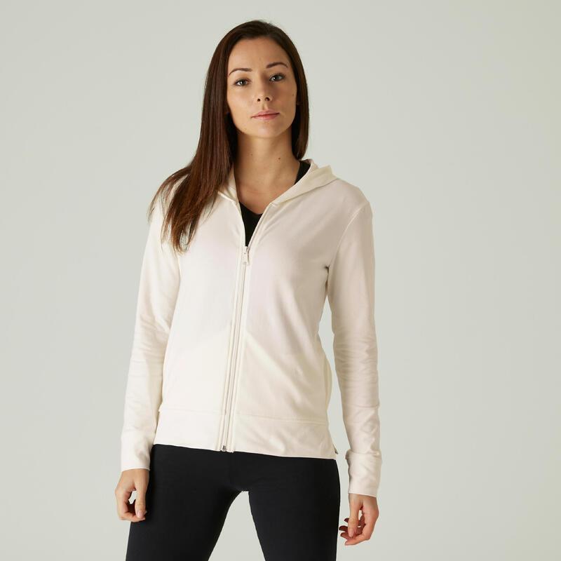 Sweat Zippé capuche Fitness Blanc