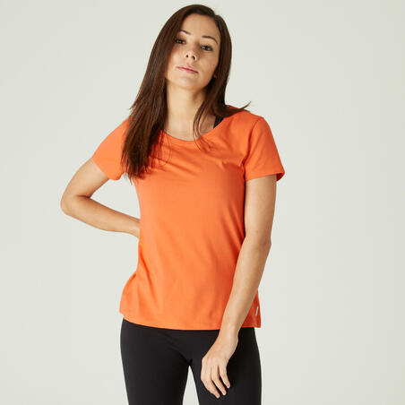 500 stretchy cotton fitness t-shirt