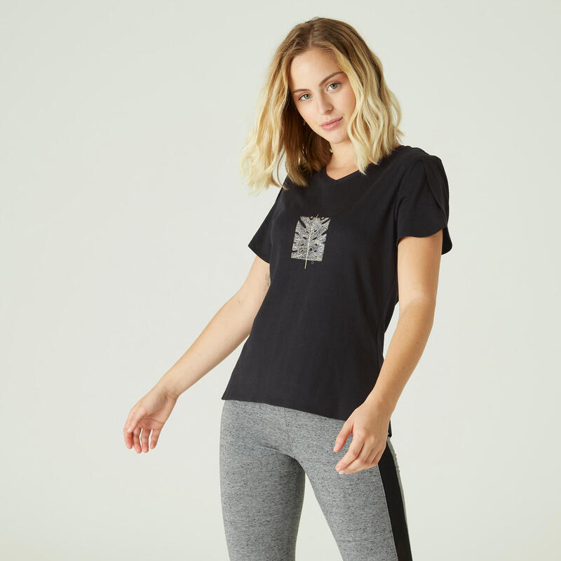 T-shirt fitness manches courtes couvrant coton col en V femme noir avec imprimé