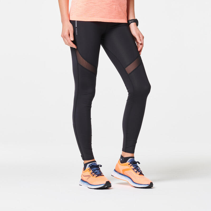 WOMEN'S RUNNING TIGHTS WITH KIPRUN SUPPORT - BLACK