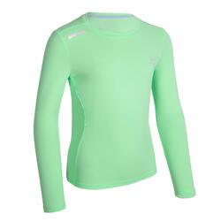 兒童UPF 50+抗UV跑步長袖T恤AT 300 - 綠色