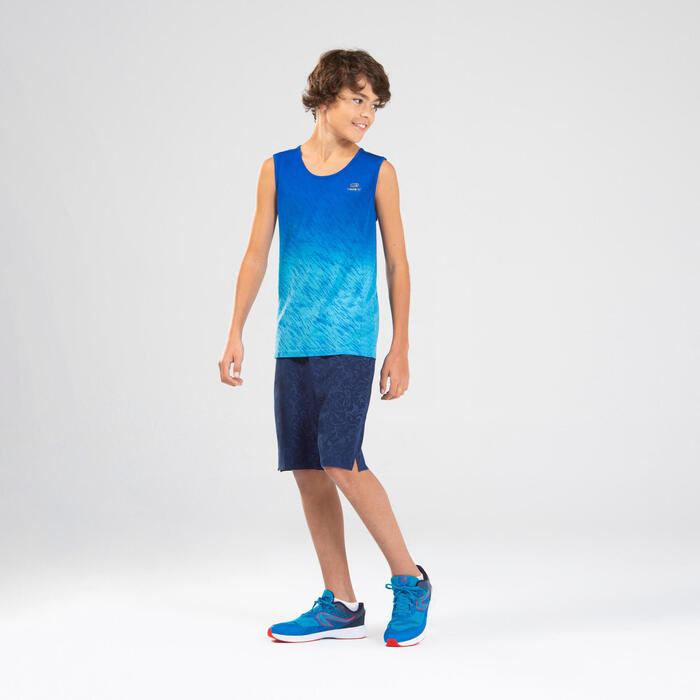 AT 500 Boy's running and athletics breathable tank top - blue