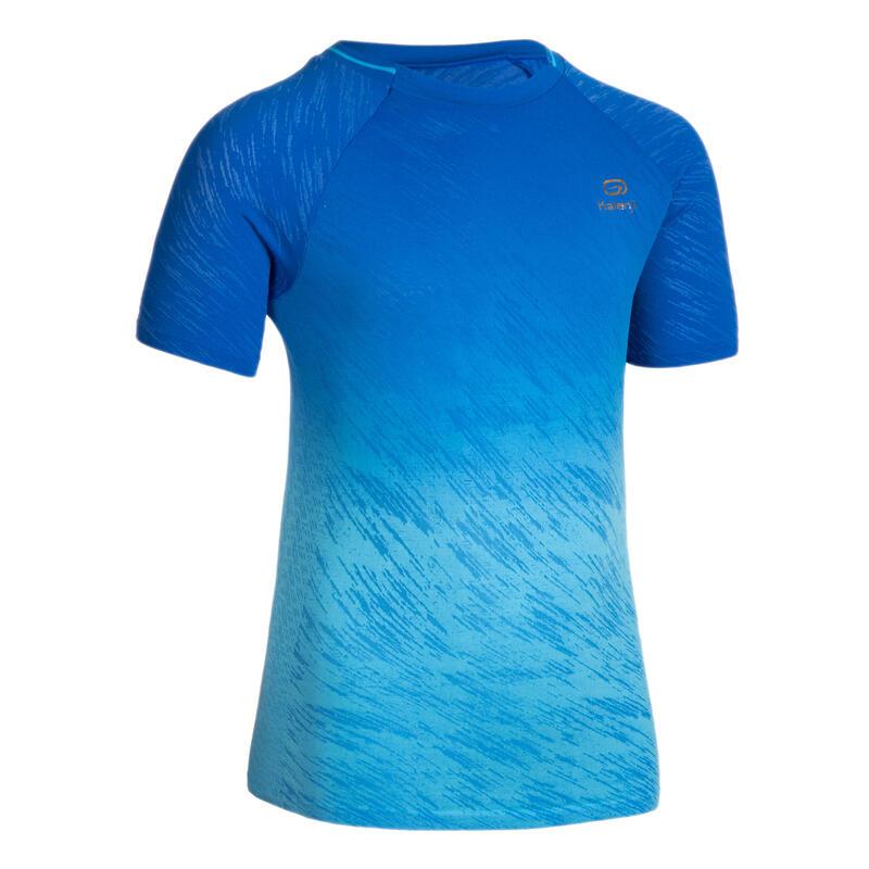 Atletiek- en loopshirt voor kinderen met korte mouwen AT 500 blauw vervagend