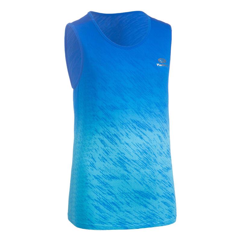 Ademende loop- en atletiektop voor jongens AT 500 blauw