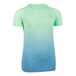Tee-shirt manches courtes de running pour les filles AT 500 vert et bleu dégradé